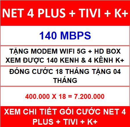 Combo Net 4 Tivi K+ 18 Th
