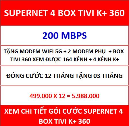 Supernet 4 Box Tivi K+ 360 12 Th